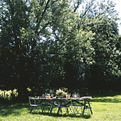 Outdoor dining table set for lunch under the trees. - Stock Image - B60H76