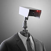 A robotic security camera - automated surveillance - Stock Image - D3JEJE