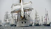 Kiel, Germany. 27th June, 2015. The traditional windjammer parade begins at the Kiel Regatta (Kieler Woche), led by the German training sail ship 'Gorch Fock', in Kiel, Germany, 27 June 2015. The Kiel Regatta is the largest summer festival in Northern Europe and the world's largest sailing event. Photo: CARSTEN REHDER/DPA/Alamy Live News - Stock Image - EWJFAX