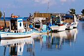 fishing boats on the river at Potamos Creek, Cyprus - Stock Image - ECYKMH