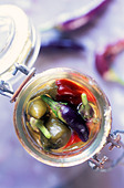 jar of peppers - Stock Image - B43BEW