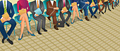 Row of enlisting people waiting for the job - Stock Image - D393MD