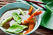 of prawn soup with kaffir leaves - Stock Image - BTHCGE