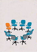 Orange chair standing out from crowd of empty blue chairs in circle - Stock Image - E8DW1E