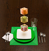 floating food blocks to show the building blocks of your diet. - Stock Image - BR5KMK