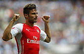 London, UK. 10th Aug, 2014. Olivier Giroud of Arsenal celebrates scoring during the Community Shield match between Arsenal and Manchester City at Wembley Stadium in London, Britain on Aug. 10, 2014. Arsenal won 3-0. © Wang Lili/Xinhua/Alamy Live News - Stock Image - E61272