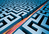 Light trails cutting straight path through maze - Stock Image - BEDR8N