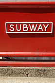 Urban Scene of a Red Subway Entrance Sign in Philadelphia Pennsylvania USA Copy Space - Stock Image - B4BFT3