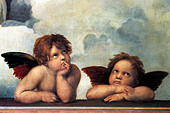 "fine arts, Raphael, Santi: ""The Angels of the Sistine Madonna"", detail from the painting ""Sistine Madonna"", 1512/1513, Gemaeldeg - Stock Image - C419P8"