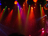 Colorful Stage Lights at a Theater with Copy Space - Stock Image - AJWPTY