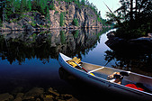 Canoe on Seagull Lake in the Boundary Waters Canoe Area Wilderness BWCAW Minnesota - Stock Image - AM02GH