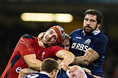 Cardiff, Wales. 15th Mar, 2014. Wales second row Luke CHARTERIS is caught in a vice grip by Scotland second row Jim HAMILTON at a maul during the RBS 6 Nations match between Wales and Scotland at The Millennium Stadium © Action Plus Sports/Alamy Live News - Stock Image - DWYWF6