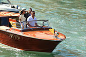 Venice, Italy. 29th Sep, 2014. Actor George Clooney and lawyer Amal Alamuddin arrive for their civil ceremony in Venice. - Stock Image - E82HYJ