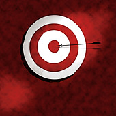 Bullseye with arrow illustration - Stock Image - A7RH30
