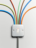 Colorful cords from light switch - Stock Image - D5WY3W