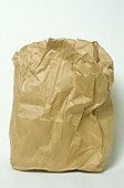 wrinkled paper lunch bag - Stock Image - AJ259E