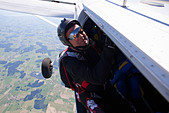 Man about to skydive from plane - Stock Image - D38N5X