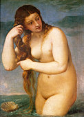 Venus Anadyomene (Venus Rising from the Sea) by Titian, c.1520 Painting. Italian artist, c. 1485 - 27 August 1576. Courtesy of - Stock Image - B0DT3T