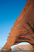 Rock arches on the Legzira beach on the Atlantic Ocean, 11 km north of the town of Sidi Ifni in southwest Morocco. - Stock Image - C3X77H