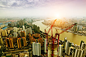 shanghai lujiazui finance and trade zone skyline - Stock Image - D2NM8G