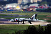 Avro 698 Vulcan B2  strategic bomber at Farnborough International Airshow 2014 - Stock Image - E7CW4P