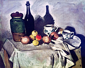 "fine arts, Cezanne, Paul, (19.1.1893 - 22.10.1906), painting, ""Still Life with Fruits and Dishes"", around 1869 - 1871, bottle, t - Stock Image - B1C1E5"