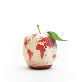 Peeled apple forming the world map - Stock Image - CR3XXN