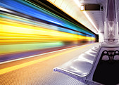 motion blur outdoor of high speed train in subway - Stock Image - C4NJTD