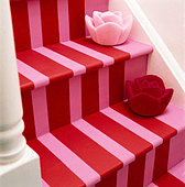 Painted staircase steps - Stock Image - AH2BX8