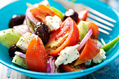 authentic greek salad with olive oil and oregano - Stock Image - DEEXWE