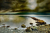 Low clouds cast shadows over waters off The Burren, north-west County Clare, Republic of Ireland - Stock Image - BW88EN