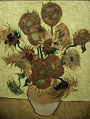 "fine arts, Gogh, Vincent van (1853 - 1890), painting, ""Fourteen sunflowers in a vase"", 1889, oil on canvas, Rijksmuseum, Amsterd - Stock Image - B40TG6"