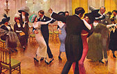 Tango lesson - with couples dancing, men in dinner jackets and spats, ladies in hats. Painted by - Stock Image - A7HYE8
