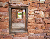 Window in fort at Lee s Ferry Arizona - Stock Image - B3P23B