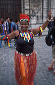 Female African Cuban streetdance carneval dressed January Sundayafternoon on Plaza de Catedral Old Havana Cuba - Stock Image - AT2481