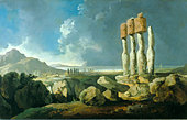 Easter Island by William Hodges, 1775 Painting. English painter, 1744 - 1797. Courtesy of National Maritime - Stock Image - B0DT3G