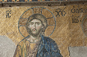 Byzantine mosaic of Jesus in the Hagia Sophia, Istanbul. - Stock Image - DY5MRF