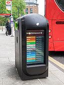 Litter Bin Street advertising London England - Stock Image - DH60E7
