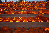 Canalside Steps, Kings Cross, London, UK. 31st October 2014. 3,000 pumpkins carved by professional carvers as well as members of the public are lit up for Halloween. © Matthew Chattle/Alamy Live News - Stock Image - E9PYWM