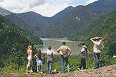 Lake Ritsa in Caucasus - Stock Image - BPCA7N