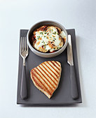 Grilled tuna with baked aubergine - Stock Image - BJHD8Y