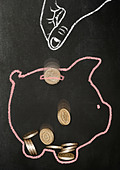Chalk drawn hand dropping real pound coins into a chalk drawn piggy bank - Stock Image - CF4YAW