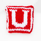 Knitted letter U woollen lettering. - Stock Image - ED87CC