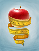 Illustrative image of an apple wrapped with measuring tape representing dieting - Stock Image - D38E23