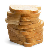 Pile of white bread slices - Stock Image - B2JCG0