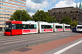 Tram in central Bremen. - Stock Image - E6RAT4