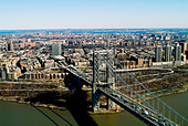 aerial view above George Washington bridge, Manhattan, New York city - Stock Image - AMHYNW