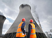 Workers At Coal Fired Power Station - Stock Image - BM36Y0