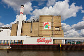 """Kellogs"" factory on the River Wesser at Bremen, Germany - Stock Image - E6RAWA"
