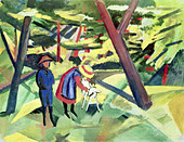 """fine arts, Macke, August, (1887 - 1914), painting, ""Kinder mit Ziege im Wald"", (""children with goat in forest""), 1912, oil - Stock Image - AHY10K"